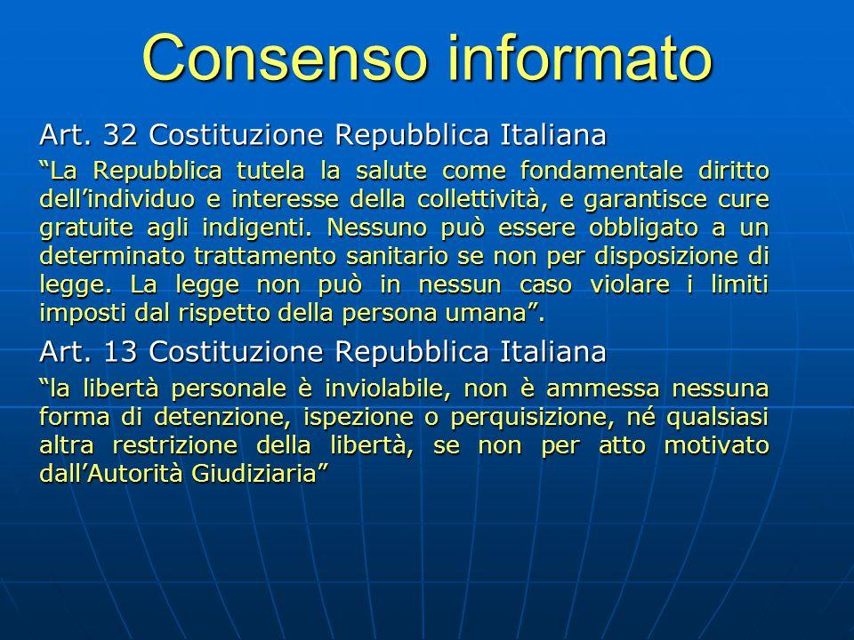 Consenso informato Art. 32 Costituzione Repubblica Italiana