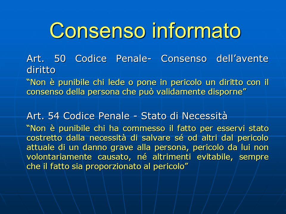 Consenso informato Art. 50 Codice Penale- Consenso dell'avente diritto