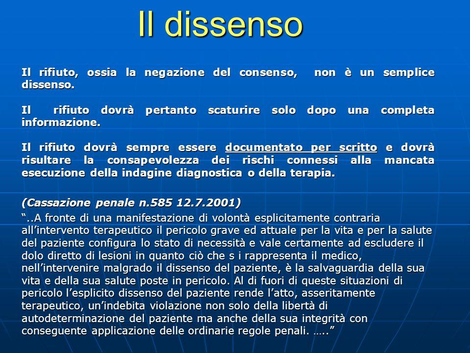 Il dissenso Il rifiuto, ossia la negazione del consenso, non è un semplice dissenso.