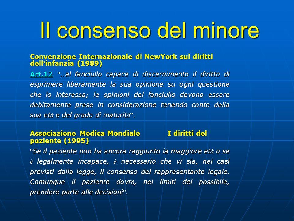 Il consenso del minore Convenzione Internazionale di NewYork sui diritti dell'infanzia (1989)