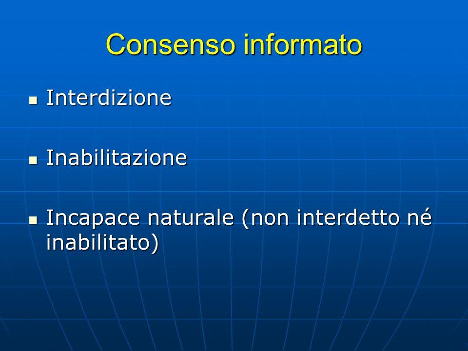 Consenso informato Interdizione Inabilitazione