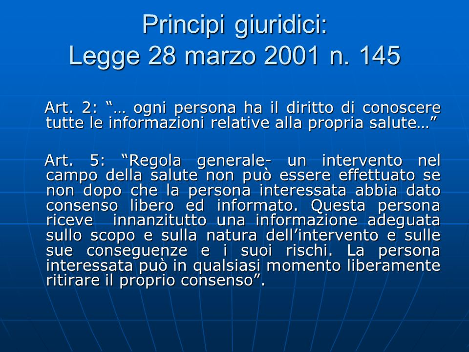 Principi giuridici: Legge 28 marzo 2001 n. 145