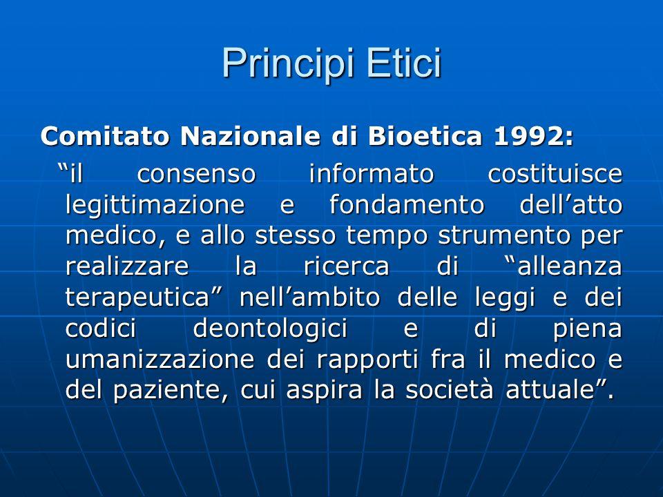Principi Etici Comitato Nazionale di Bioetica 1992: