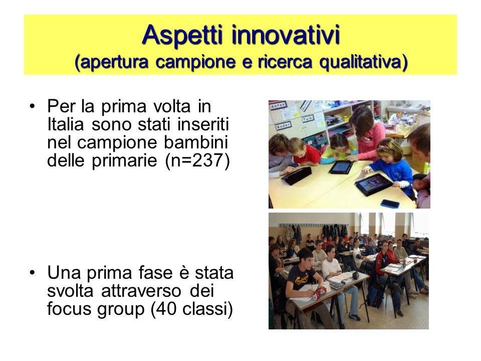 Aspetti innovativi (apertura campione e ricerca qualitativa)