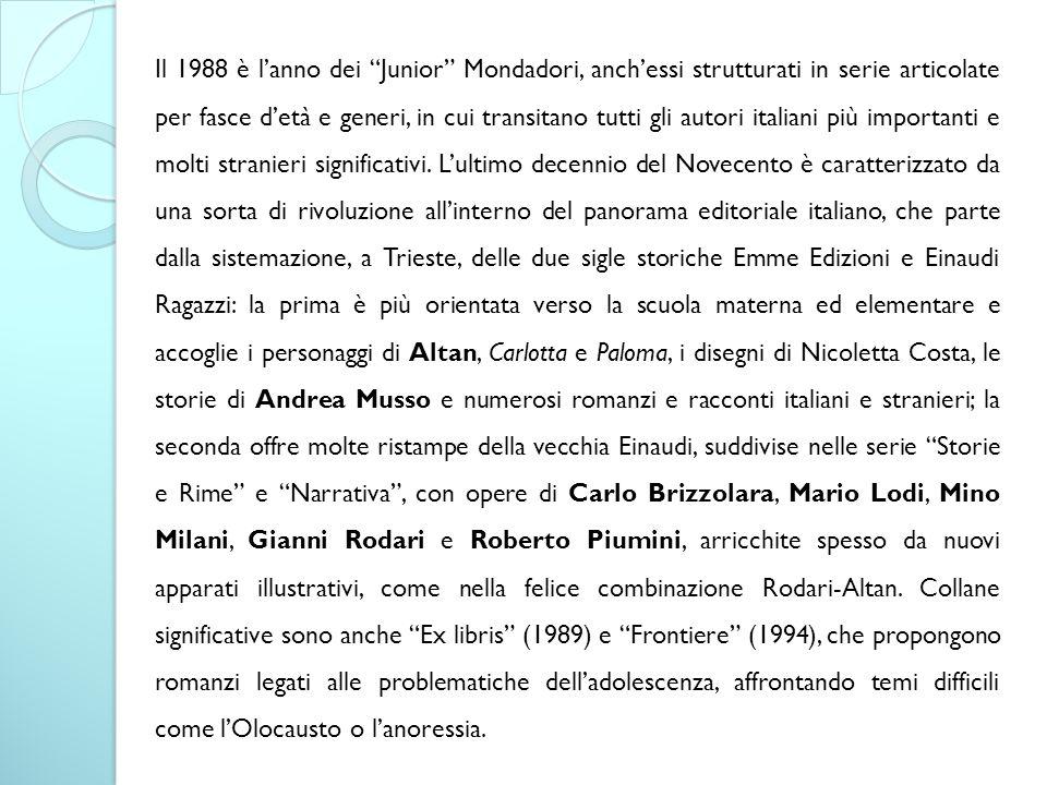 Il 1988 è l'anno dei Junior Mondadori, anch'essi strutturati in serie articolate per fasce d'età e generi, in cui transitano tutti gli autori italiani più importanti e molti stranieri significativi.