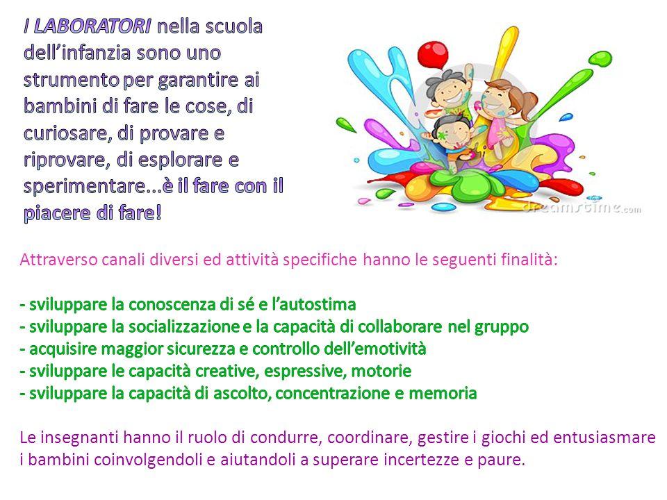 I LABORATORI nella scuola dell'infanzia sono uno strumento per garantire ai bambini di fare le cose, di curiosare, di provare e riprovare, di esplorare e sperimentare...è il fare con il piacere di fare!