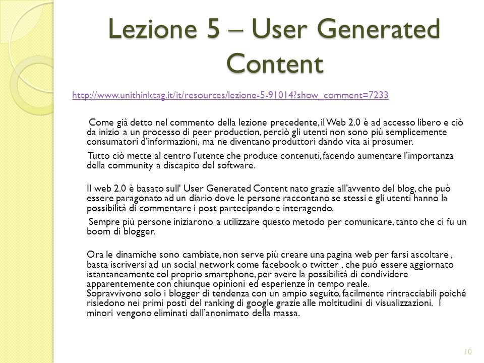 Lezione 5 – User Generated Content