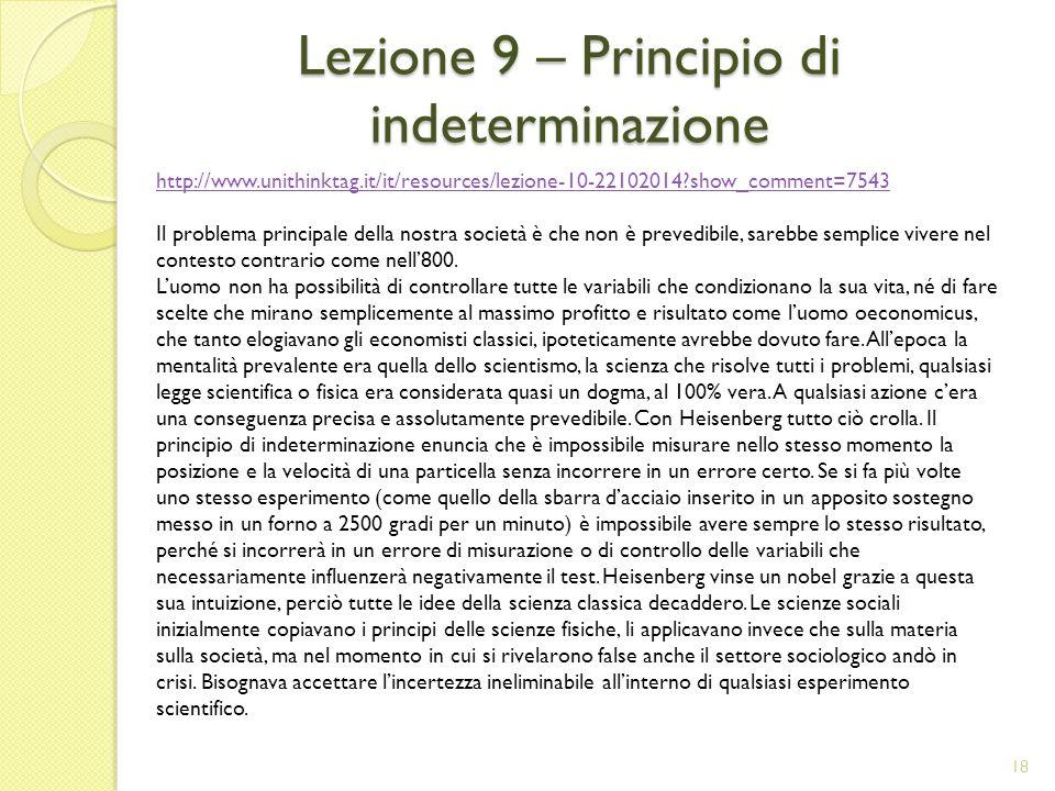 Lezione 9 – Principio di indeterminazione