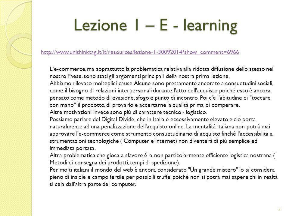 Lezione 1 – E - learning
