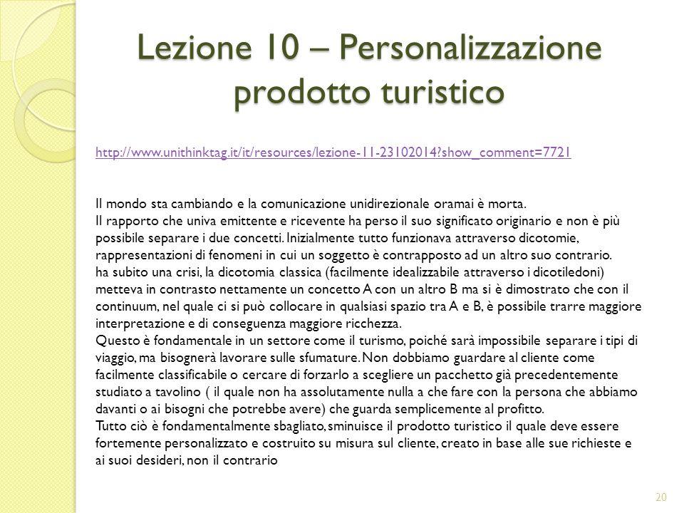Lezione 10 – Personalizzazione prodotto turistico