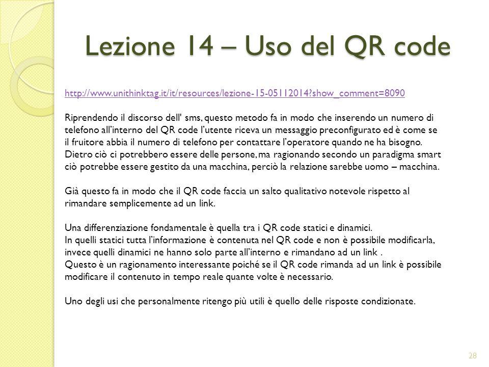 Lezione 14 – Uso del QR code