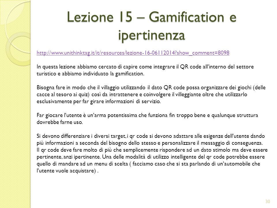 Lezione 15 – Gamification e ipertinenza