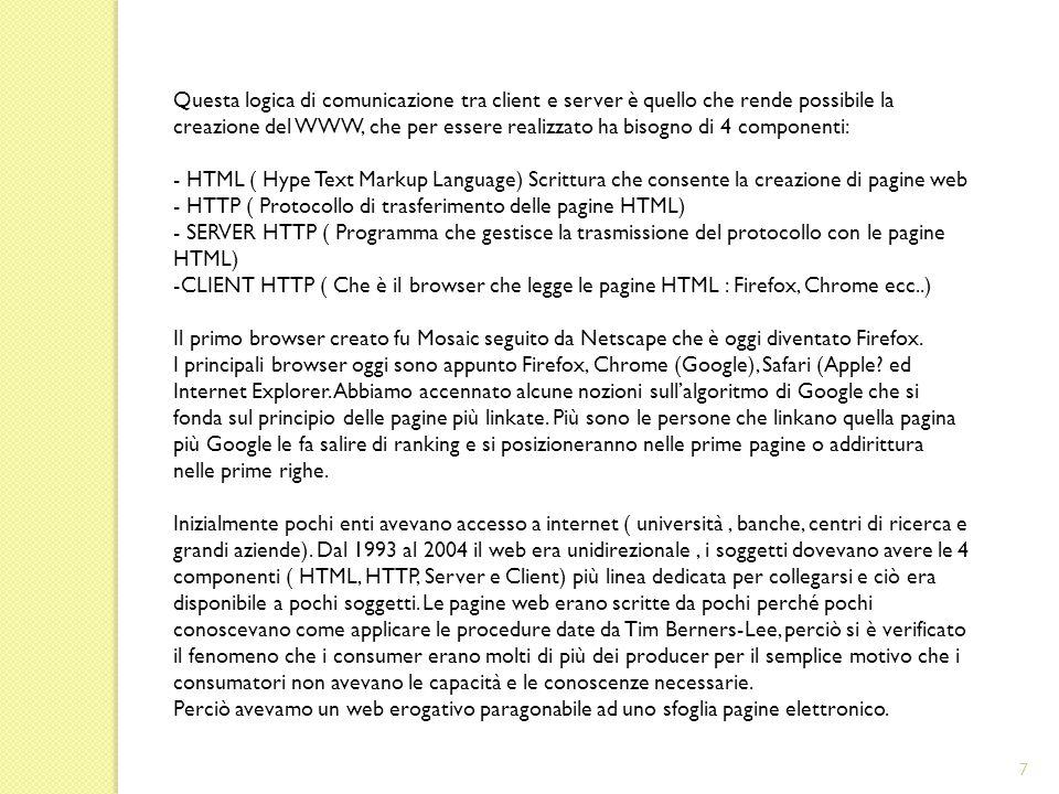 Questa logica di comunicazione tra client e server è quello che rende possibile la creazione del WWW, che per essere realizzato ha bisogno di 4 componenti: