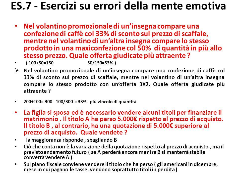 ES.7 - Esercizi su errori della mente emotiva