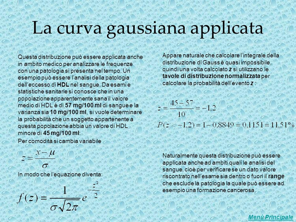 La curva gaussiana applicata