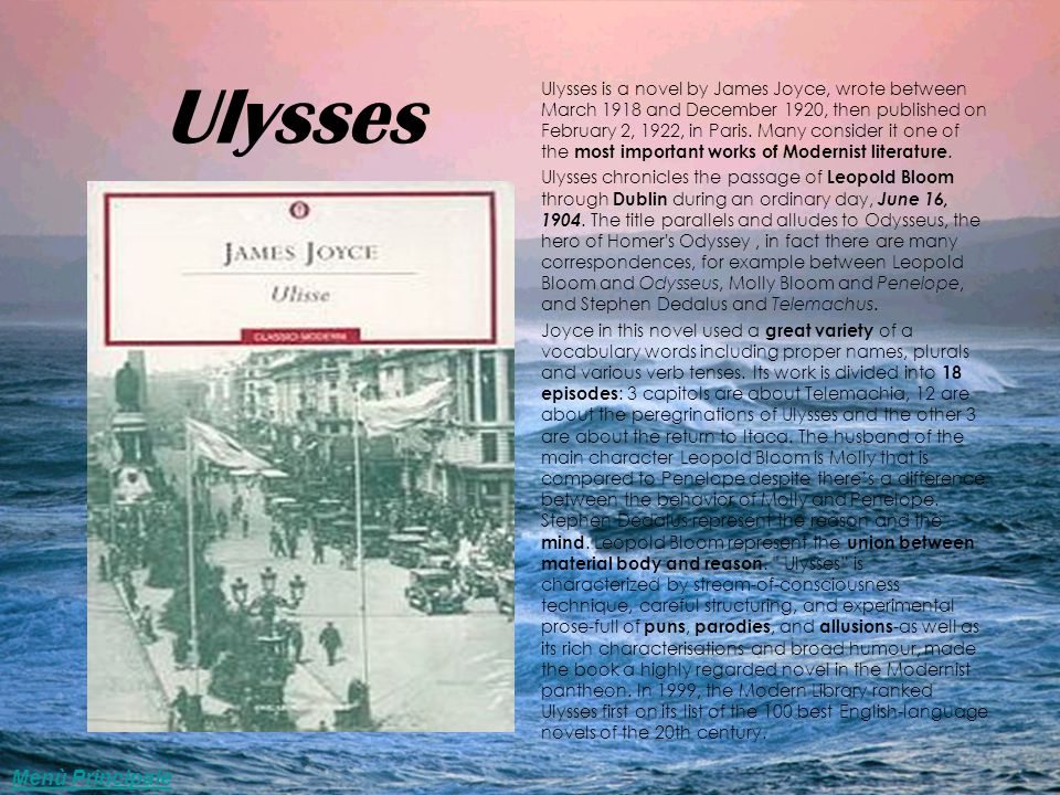 A parallel between the odyssey by homer and the novel ulysses by james joyce