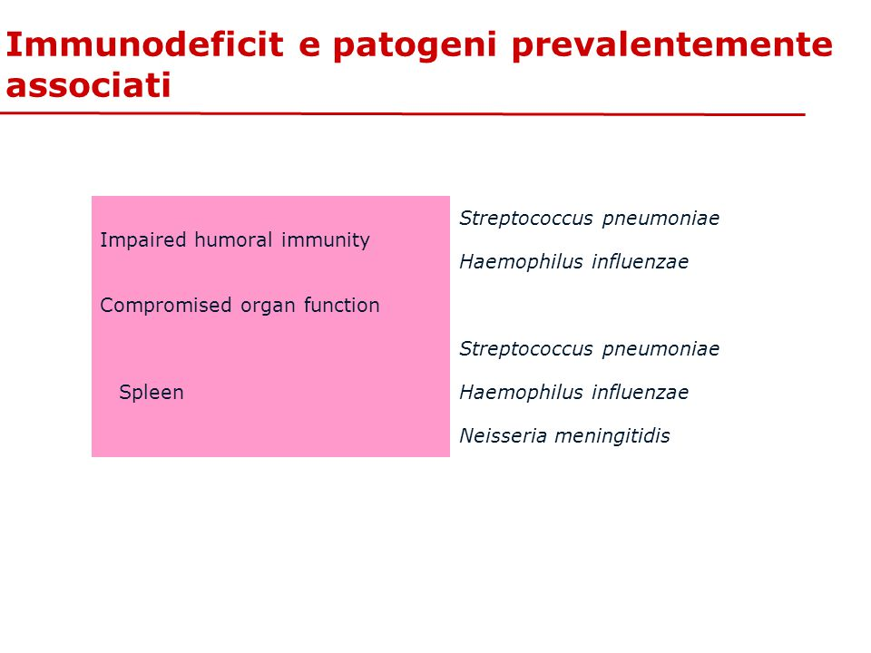 Immunodeficit e patogeni prevalentemente associati
