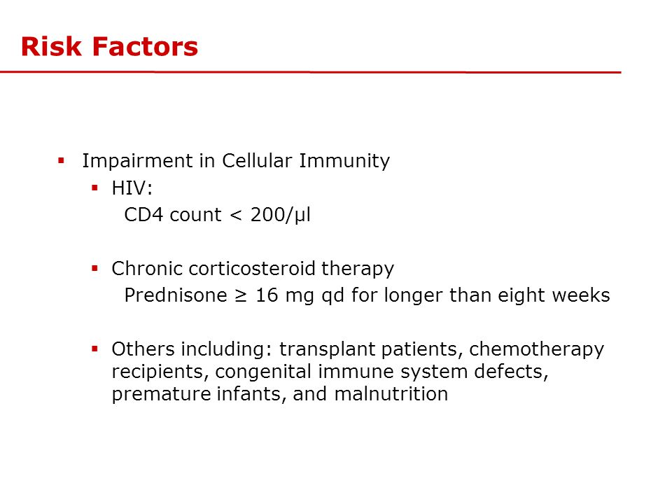 Risk Factors Impairment in Cellular Immunity HIV: