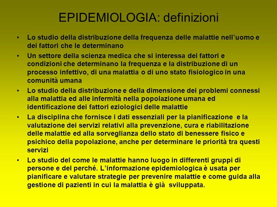 EPIDEMIOLOGIA: definizioni