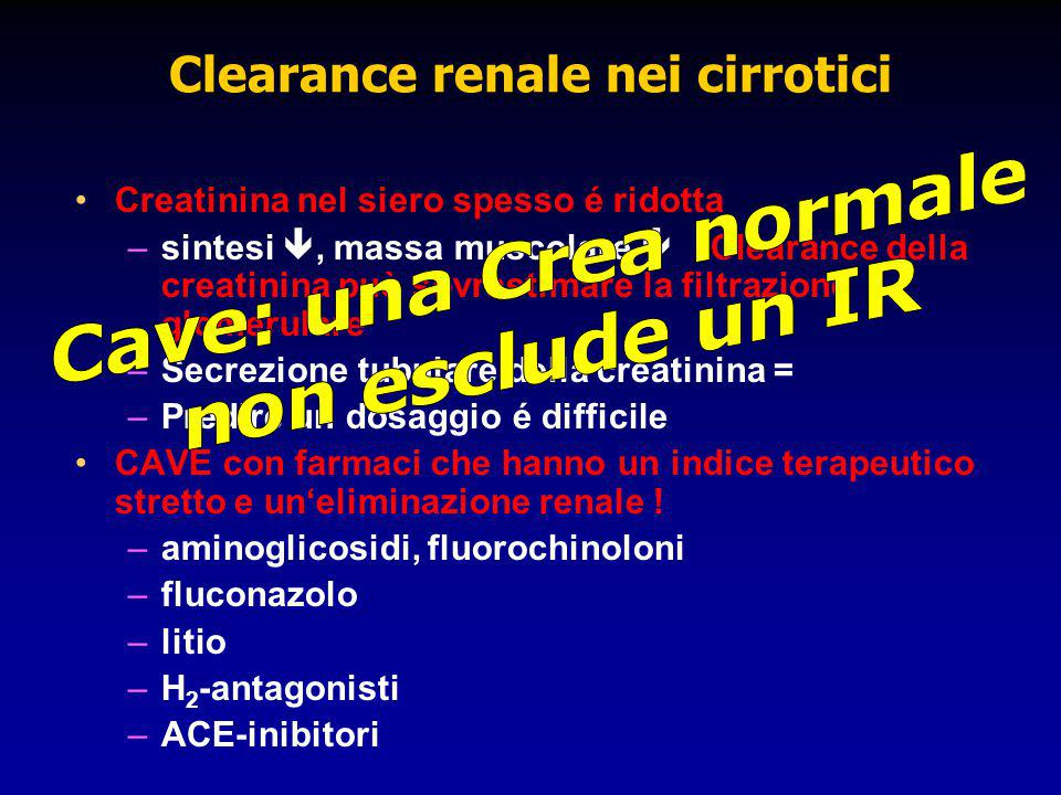 Clearance renale nei cirrotici