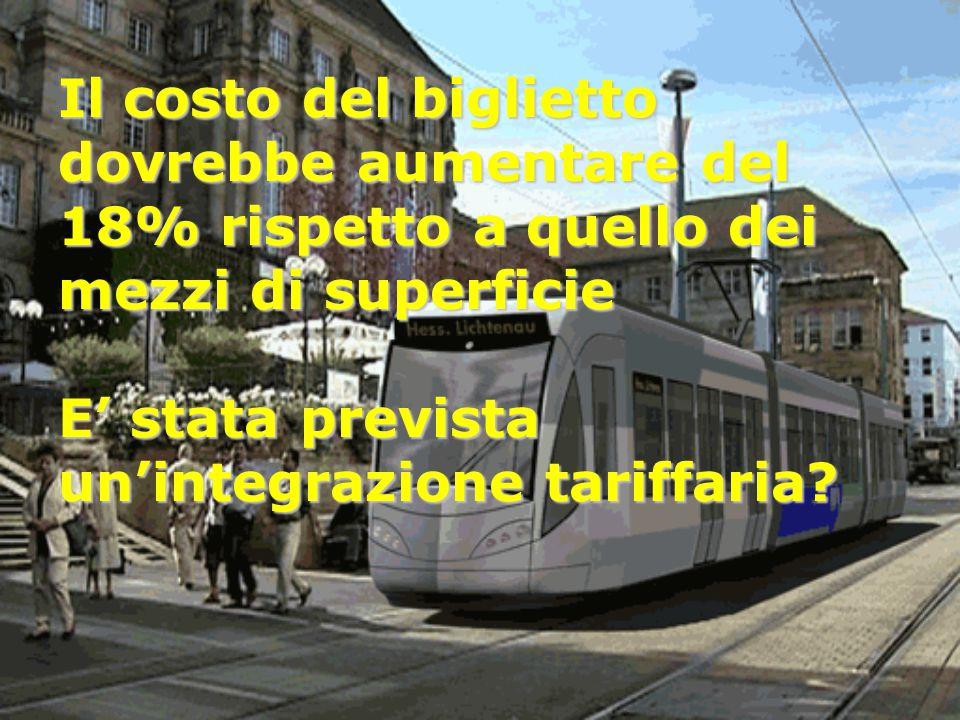 Il costo del biglietto dovrebbe aumentare del 18% rispetto a quello dei mezzi di superficie E' stata prevista un'integrazione tariffaria