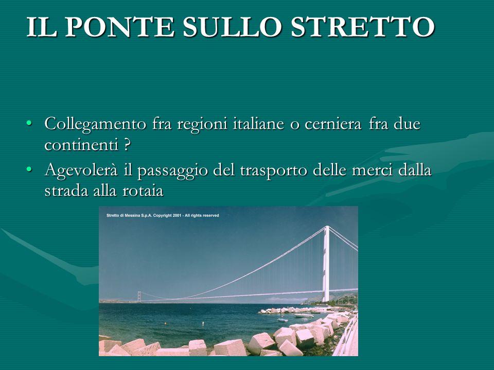 IL PONTE SULLO STRETTO Collegamento fra regioni italiane o cerniera fra due continenti