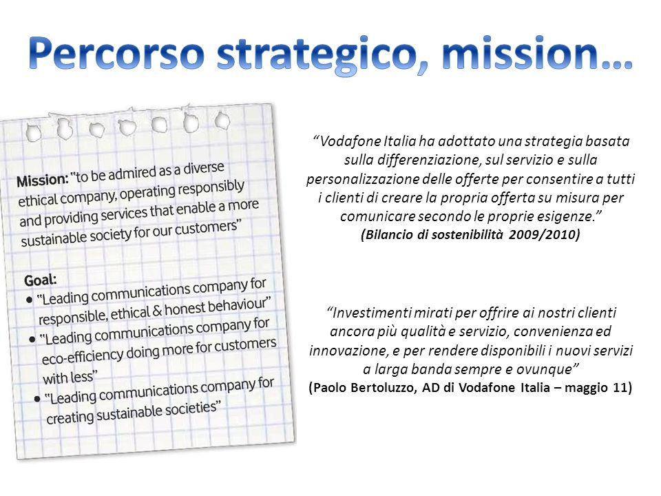 Percorso strategico, mission…