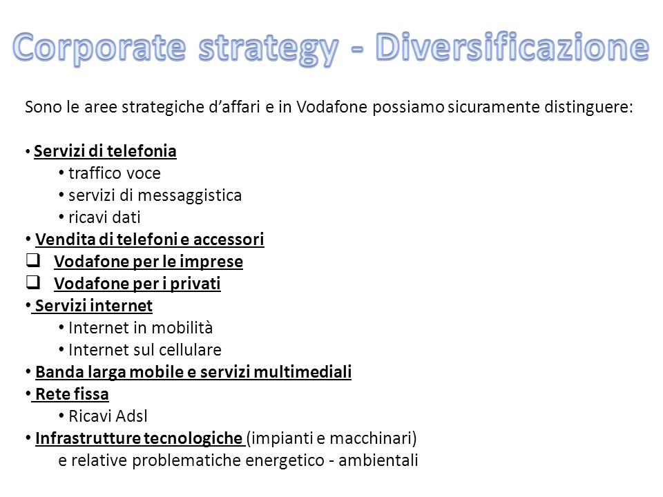 Corporate strategy - Diversificazione