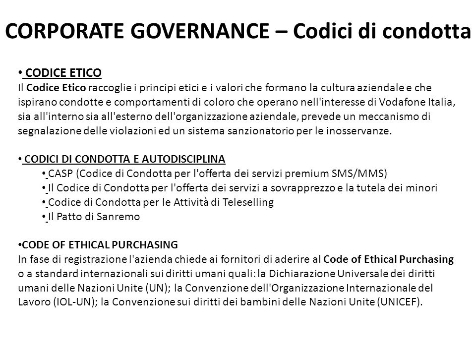 CORPORATE GOVERNANCE – Codici di condotta