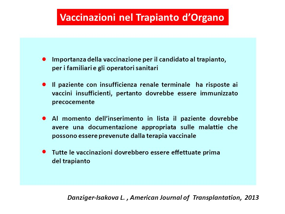 Vaccinazioni nel Trapianto d'Organo