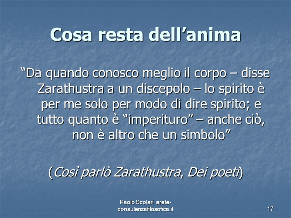 Cosa resta dell'anima