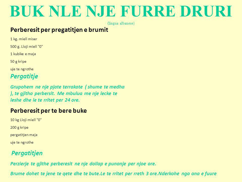 BUK NLE NJE FURRE DRURI (lingua albanese)