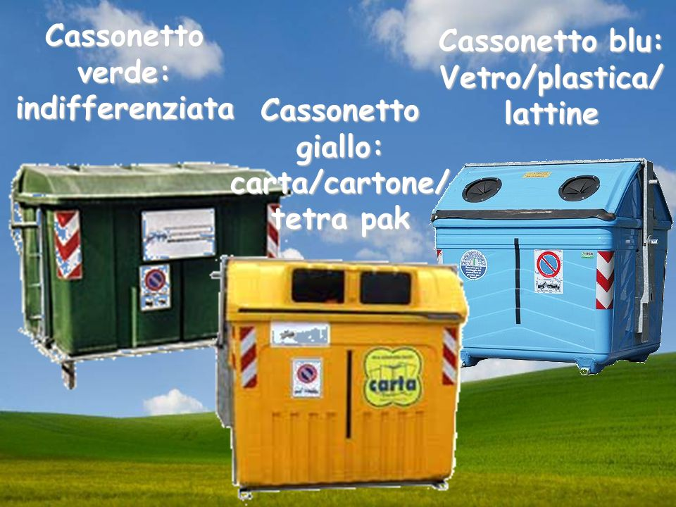 Vetro/plastica/ lattine carta/cartone/ tetra pak