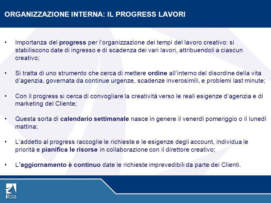 ORGANIZZAZIONE INTERNA: IL PROGRESS LAVORI