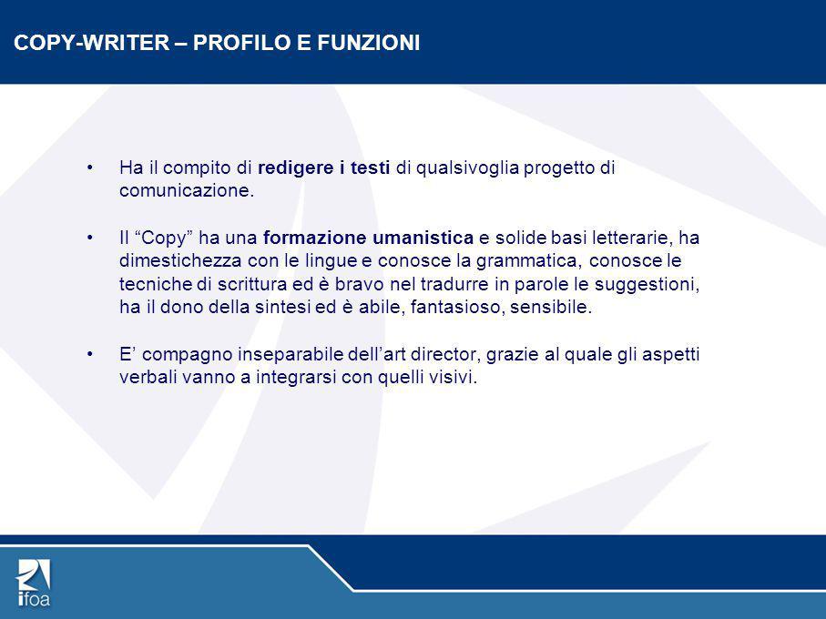 COPY-WRITER – PROFILO E FUNZIONI