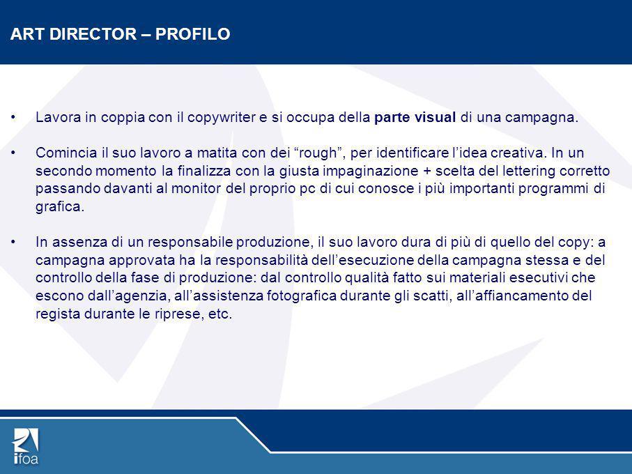 ART DIRECTOR – PROFILO Lavora in coppia con il copywriter e si occupa della parte visual di una campagna.