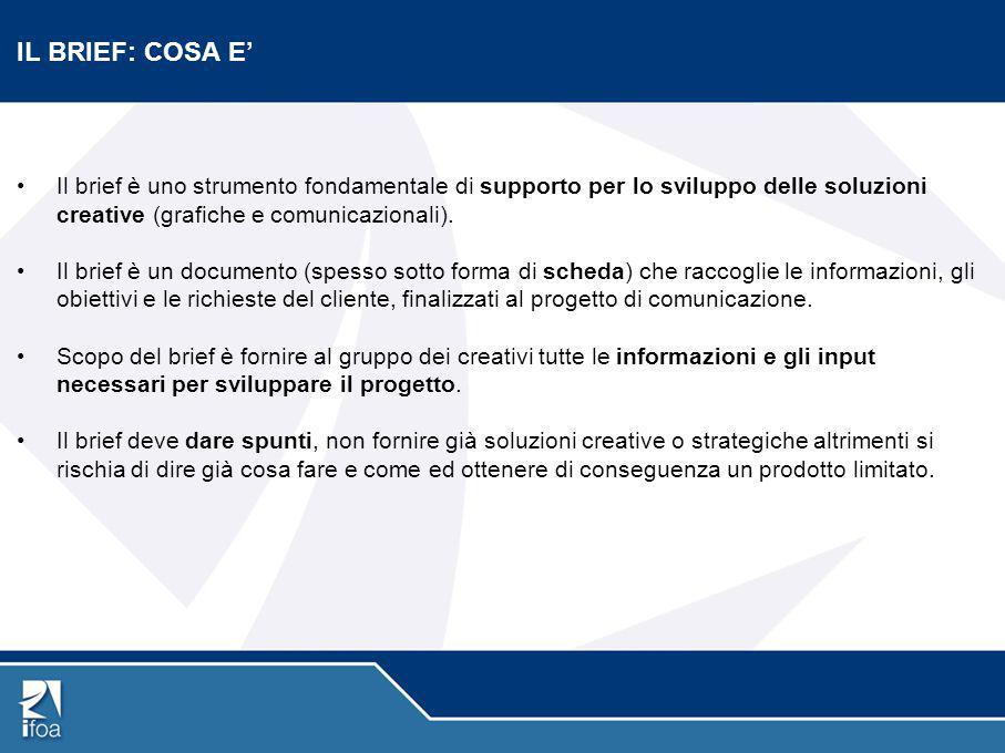 IL BRIEF: COSA E' Il brief è uno strumento fondamentale di supporto per lo sviluppo delle soluzioni creative (grafiche e comunicazionali).