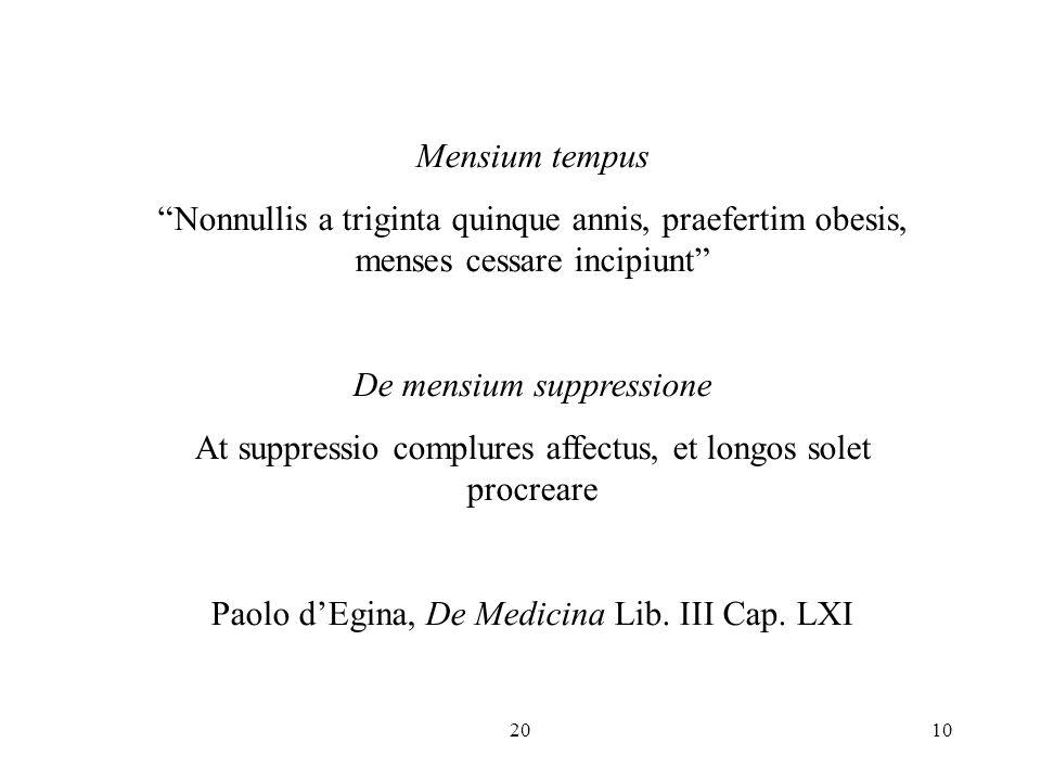De mensium suppressione