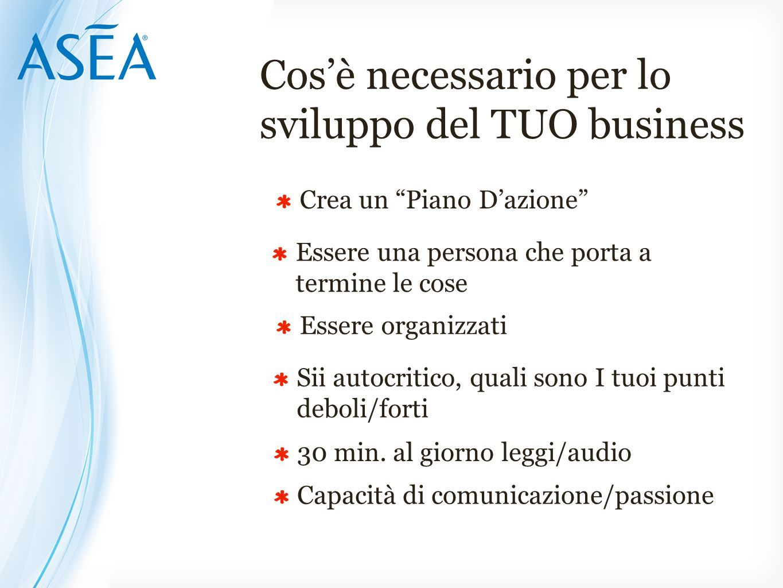 Cos'è necessario per lo sviluppo del TUO business