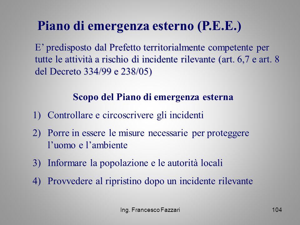 Scopo del Piano di emergenza esterna