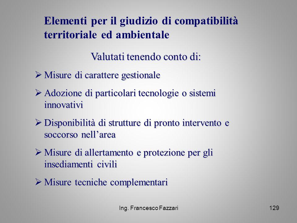 Elementi per il giudizio di compatibilità territoriale ed ambientale