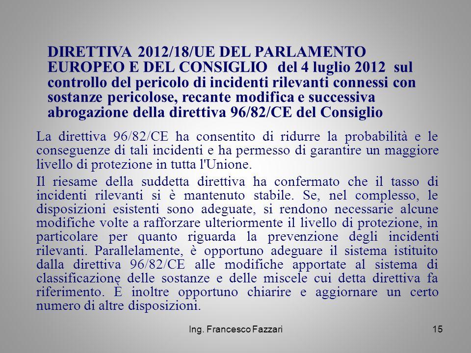 DIRETTIVA 2012/18/UE DEL PARLAMENTO EUROPEO E DEL CONSIGLIO del 4 luglio 2012 sul controllo del pericolo di incidenti rilevanti connessi con sostanze pericolose, recante modifica e successiva abrogazione della direttiva 96/82/CE del Consiglio