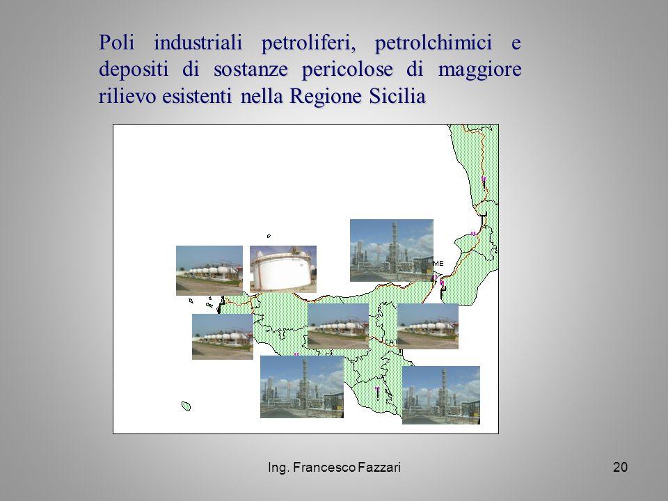 Poli industriali petroliferi, petrolchimici e depositi di sostanze pericolose di maggiore rilievo esistenti nella Regione Sicilia