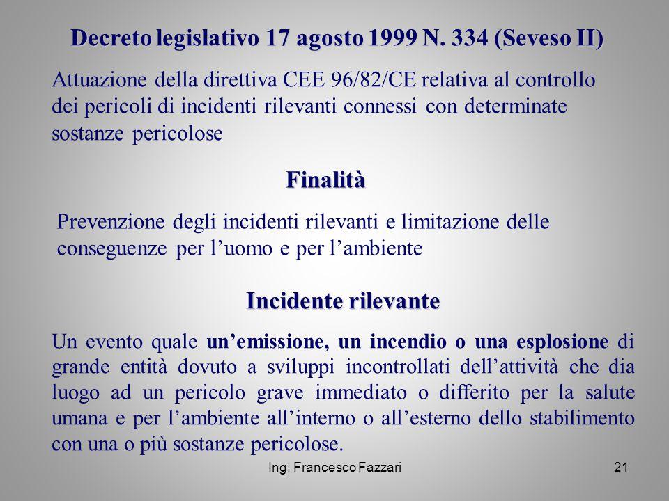 Decreto legislativo 17 agosto 1999 N. 334 (Seveso II)