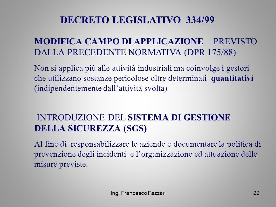 DECRETO LEGISLATIVO 334/99 MODIFICA CAMPO DI APPLICAZIONE PREVISTO DALLA PRECEDENTE NORMATIVA (DPR 175/88)