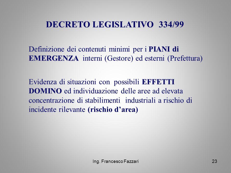 DECRETO LEGISLATIVO 334/99 Definizione dei contenuti minimi per i PIANI di EMERGENZA interni (Gestore) ed esterni (Prefettura)