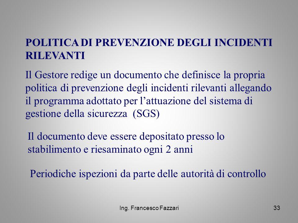 POLITICA DI PREVENZIONE DEGLI INCIDENTI RILEVANTI
