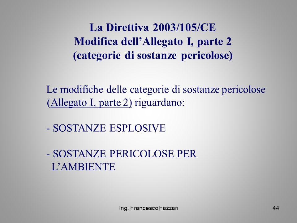 La Direttiva 2003/105/CE Modifica dell'Allegato I, parte 2 (categorie di sostanze pericolose)
