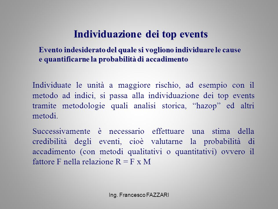 Individuazione dei top events