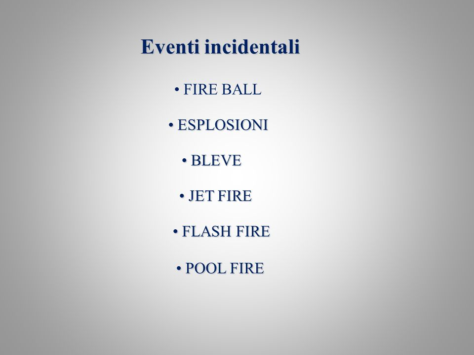 Eventi incidentali FIRE BALL ESPLOSIONI BLEVE JET FIRE FLASH FIRE